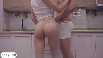 I Masturbate Pussy Girlfriend and Handjob Dick in the Kitchen 10 min