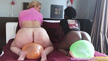 In latex balloons Selahs bare pussy meets balloon vibration pleasure
