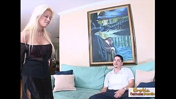 Women with peniss - Horny blonde milf fucks her boyfriends friend on the couch