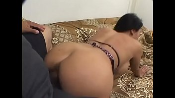 Well-padded brunette housewife with slant eyes Kitty Langdon likes to spit roast with horny white and Red Indian studs