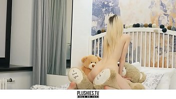 Plush furry sex toy - Skinny petite teen girl riding big black cock on teddy bear from plushies.tv