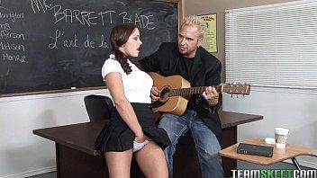 bigtitty brunette schoolgirl riding her profs hard cock