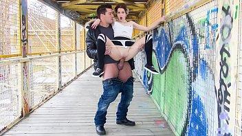 CHICAS LOCA Sexy tattooed Spanish chick Mey Madness in crazy public fuck on a bridge