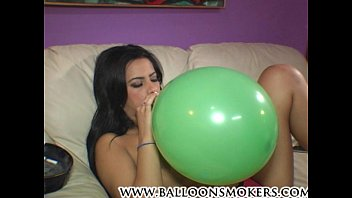 Hairy smokers - Ava jay blows to pop balloons