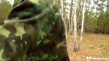 Stepmom takes a hard cock in the woods