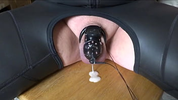 Stimmed gay - Estm e-stim electro cum sperm load milking with chastity cage