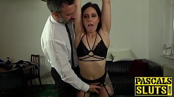 Submissive chick gags on hard cock and rides it wildly 10 min