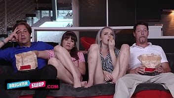 Movie Night For Iris Rose & Alison Rey Goes Wild When They Swap Dads And Ride Them