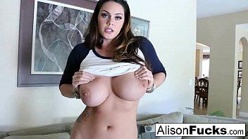Big Tit Alison Tyler rubs her giant knockers before pleasuring herself