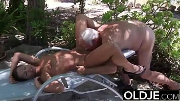 Young Girlfriend caught fucked by old man she sucks his dick and swallows cum Image