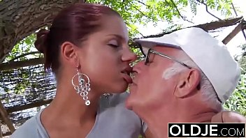 Fuck man she Young girlfriend caught fucked by old man she sucks his dick and swallows cum