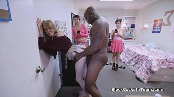 Blonde big black cocked at the dorm