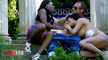 Interacial ass shakers - Hot interacial outdoor threesome with good squirting