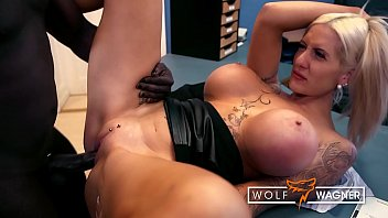 Silicone-pimped secretary Lena Lay lets her boss fuck her mouth & pussy! wolfwagner.com