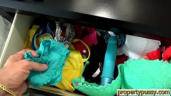 Landlord gets caught sniffing panties by busty tenant