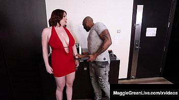Massive Melons Maggie Green Sucks Big Black Cock For Money!