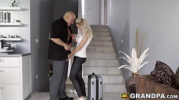 Spicy blonde babe stretched by big dicked senior 8 min