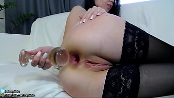 Adult toy extremes - Teeny girl first time insert big glass ball plug in little ass and gape chaturbate.com/sexykiska