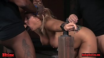 Restrained submissive spitroasted by masters