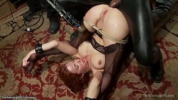 Busty MILF trainee interracial anal