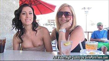 Porn teen Soraya fingers pussy public brunette
