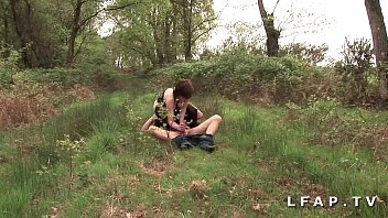 French slut banged in 1 gangbang with Papy Voyeur in the middle of nature 27 min
