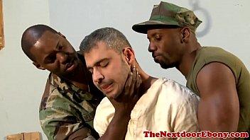 Black gay hunks spitroast white jock