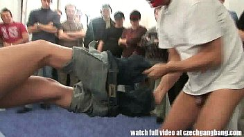 Tight Blond Chick Gets Extreme Hardcore Gangbang 8 Min