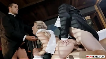 Bitch Dressed In Schoolgirl And Fucked By Three Men