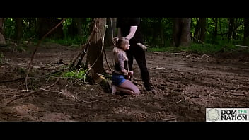 Submissive hottie Rory Knox gets tied to a tree for face fucking, piss drinking, and ass eating in the woods of Maryland