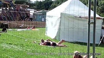 Dude fucks hot amateur outdoor POV at music festival