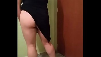 My sexy wife in minidress without panties, ready to go fucking ....