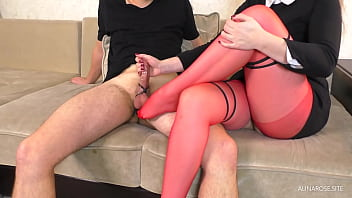 Teacher in Red Pantyhose Tease and Femdom Handjob after class