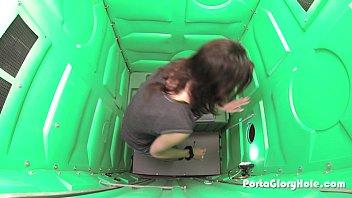 Porta Gloryhole Milf hones her BJ skills in public 6 min