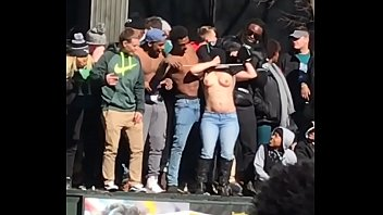 White Girl Shaking Titties at Philadelphia Eagles Super Bowl Celebration Parade