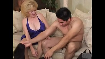 Younger stud gets to fuck an old blonde slut Kitty Foxx after she blows him