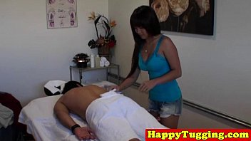 Real Asian Busty Masseuse Tugging
