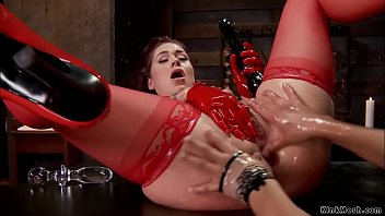 Redhead in red lingerie anal fisted
