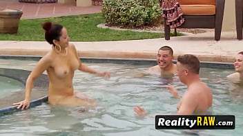 Pool party with horny hot redhead