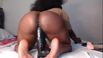 sexy ebony bitch twerking ass with dildo in pussy 4 min