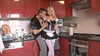 Today my blonde wife dresses as a maid and i´m allowed to use the backdoor