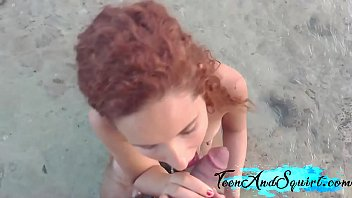 PETITE REDHEAD WITH BIG TITS FUCKS ON THE BEACH AMATEUR POV TEEN AND SQUIRT