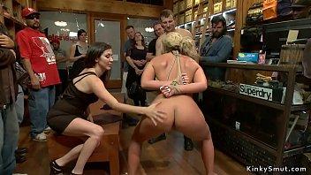 Busty MILF anal fucked in public shop