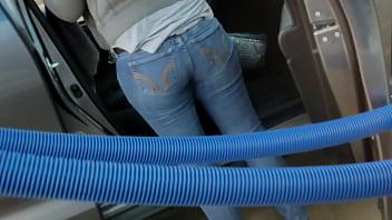 Carwash  Voyeur Jeans Blonde Girl