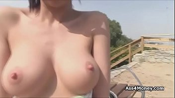Spanish big tit cocked on public hill