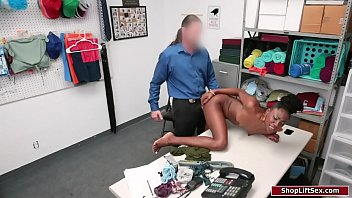 Ebony girl gets fucked by security guard
