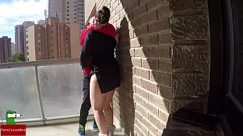 Watching couple from hotel balcony sex - Pussy food on the balcony for voyeur fans