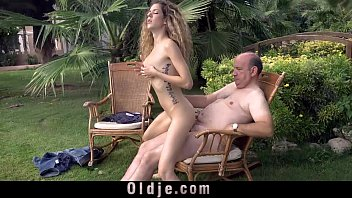 I aint trying to fuck you man - Cute curly teen gets laid with fat grandpa