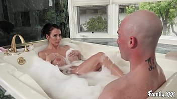 In the family xxx Big tits stepmom reagan foxx fucks her stepson in the bathtub