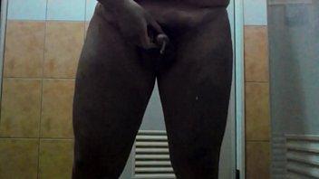 Small penis cum in public toilet